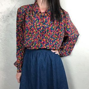 Vintage 1980s Blouse Multicolored Heart Pattern